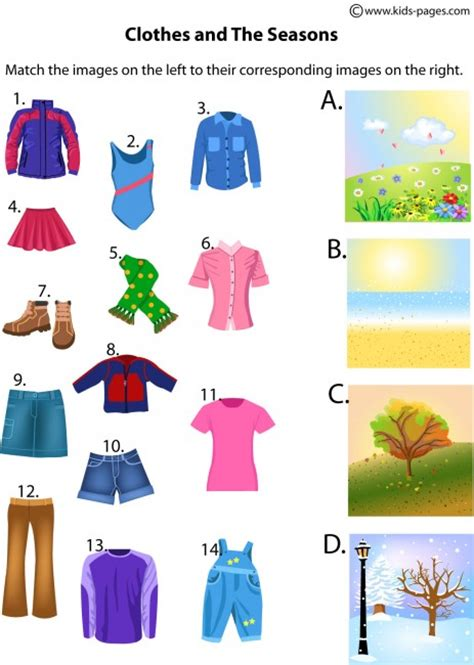 clothes for different seasons worksheet clothes and the seasons worksheet