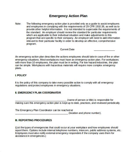workplace plan template sle emergency plan template 9 documents in