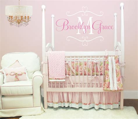 Personalized Name Wall Decals For Nursery Name Wall Decal Baby Nursery Shabby Chic Frame Personalized Vinyl Name And Initial Decal