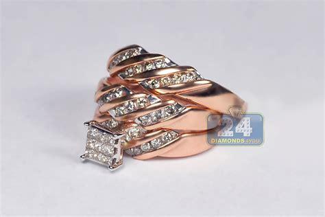Set Gold 67 his hers matching wedding rings set 14k gold