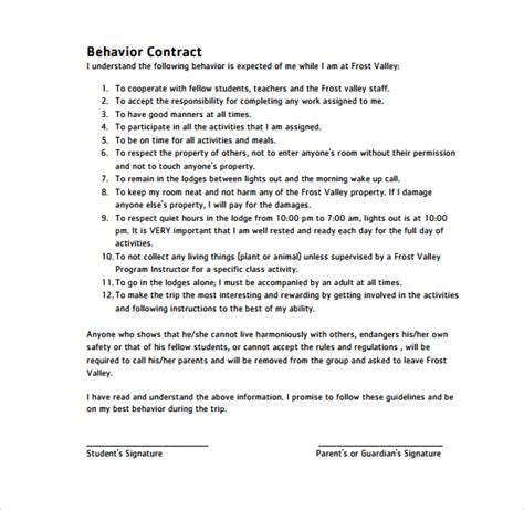Behavioral Contract Template Template Business Employee Behavior Contract Template