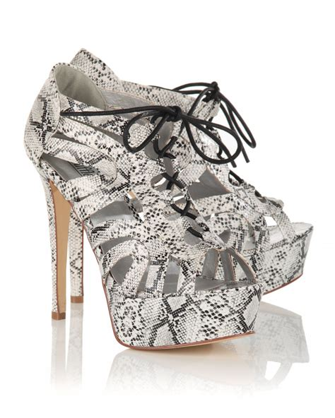 lace pattern heels blue inc womens lace up snake pattern print high heel