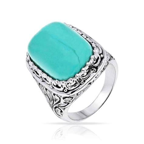 vintage bali filigree gemstone turquoise cocktail ring 925