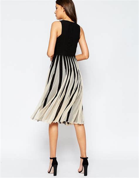 Dress Pinguin Square Lyst Asos Mesh Insert Square Neck Fit And Flare