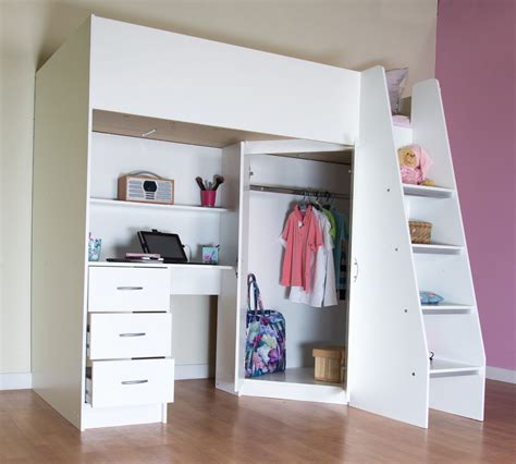 Wardrobe With Desk by High Sleeper Cabin Bed With Desk And Wardrobe Calder M2270