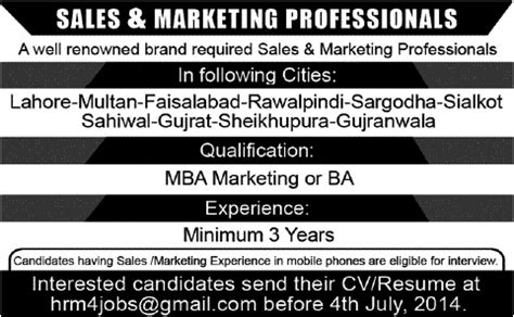 Mba Marketing In Pakistan by In Well Renowned Brand Pakistan For Sales And