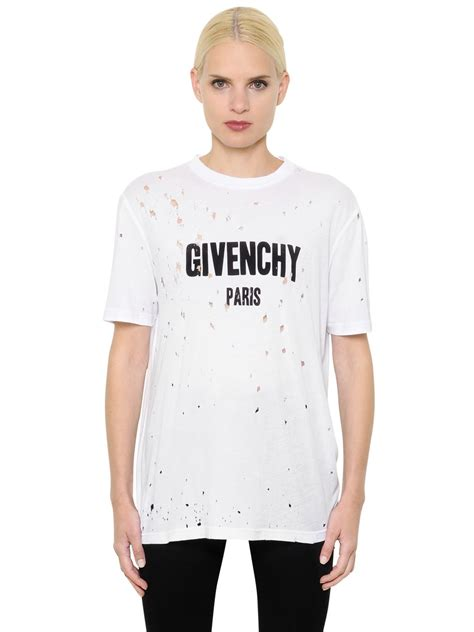 givenchy shirt lyst givenchy logo printed destroyed jersey t shirt in white