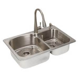 All In One Kitchen Sinks Glacier Bay All In One Dual Mount Stainless Steel 33 In 2 Bowl Kitchen Sink Sm2034