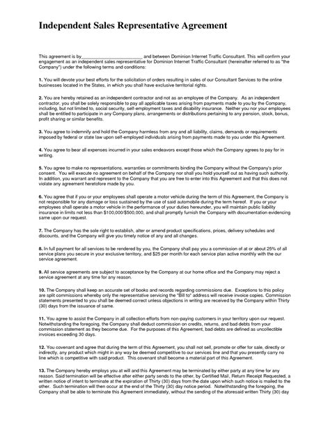 10 best images of sales representative agreement sle