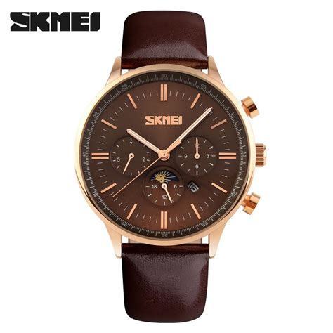 Skmei Casual Leather 9086cl Hitam jual jam tangan pria skmei original analog casual leather 9117cl coklat