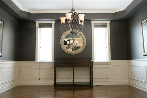 Dining Room With Chair Rail Chair Rail Applique Columns Traditional Dining Room Ottawa By House Of Carpentry