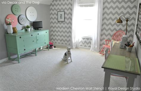 chevron pattern room ideas stencil yourself a creative play space craft room