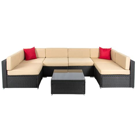 Outdoor Sofa Sectional Set 7pc Outdoor Patio Garden Wicker Furniture Rattan Sofa Set Sectional Black Ebay