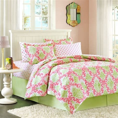 pink and green comforter set pink damask bedding oh so girly