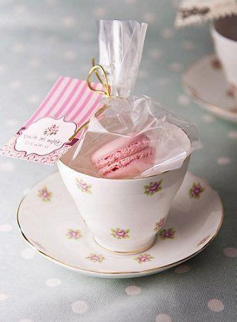 wedding favors tea cups tea and macarons favor idea tea