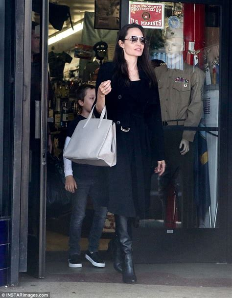 Angelina Jolie Brings Son Knox To Military Supply Store | angelina jolie brings son knox to military supply store