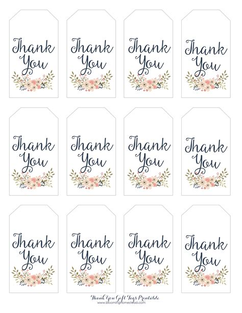 thank you card tag template thank you gift tags blooming homestead