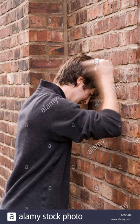 Against A Brick Wall banging your against a brick wall 3 stock photo