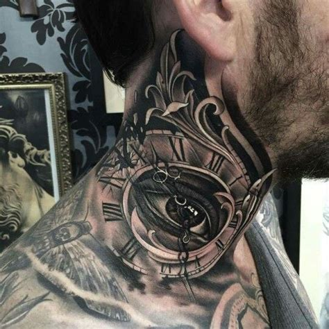 tattoo eye and clock neck tattoo clock and all seeing eye tattoo pinterest