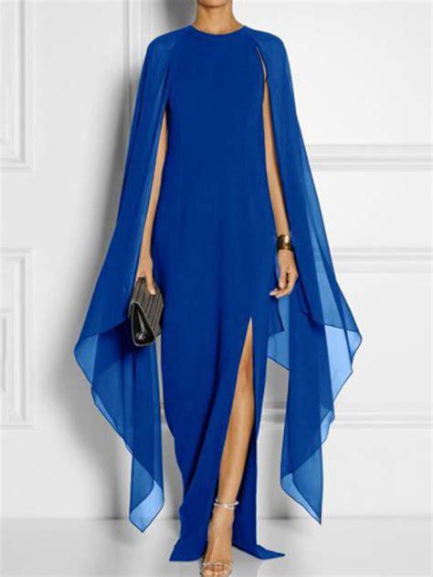 cape sleeve high slit plain chiffon maxi dress fashionmia com