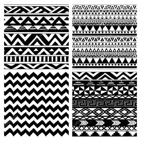tribal pattern white aztec tribal seamless black and white pattern set stock