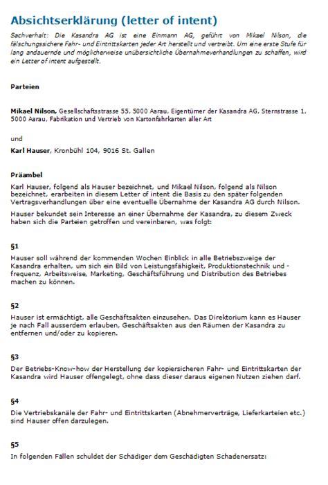 Letter Of Intent Zusammenarbeit Muster Absichtserkl 228 Rung Muster F 252 R Beabsichtigtes Mietverh 228 Ltnis Downloaden