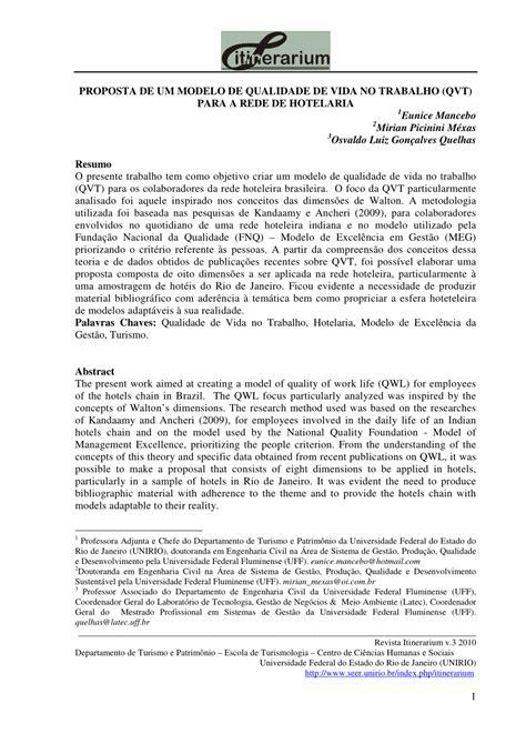 (PDF) PROPOSTA DE UM MODELO DE QUALIDADE DE VIDA NO