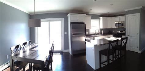 Kitchen And Living Room Color Schemes - open concept kitchen and dining room studio gray paint