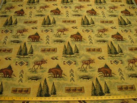 moose upholstery fabric bear moose northwest tapestry upholstery fabric ft898 ebay