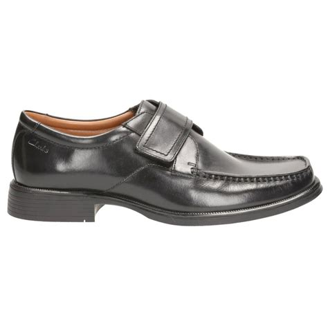 velcro shoes for clarks mens huckley roll black leather velcro shoes