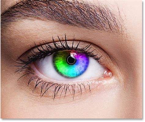 vire eye color rainbow color effect with photoshop