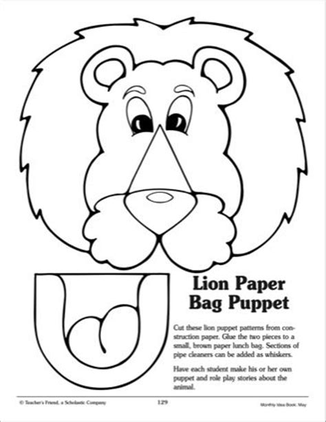 paper bag cat puppet pattern paper lion and printables on pinterest