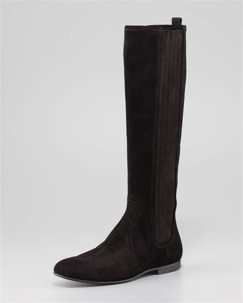 flat suede shoes balenciaga arena suede flat knee boot in black lyst