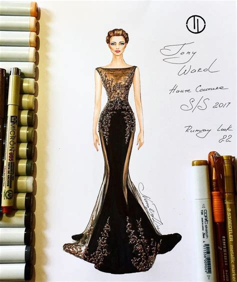 fashion illustration velvet luxurious tony ward couture velvet gown haute couture collection summer 2017