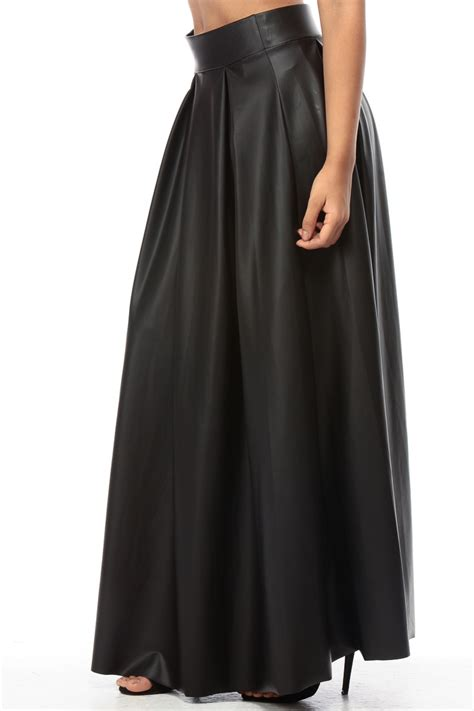 black faux leather flared maxi skirt