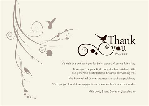 thank you notes for wedding gifts templates wedding thank you templates free standard greeting card