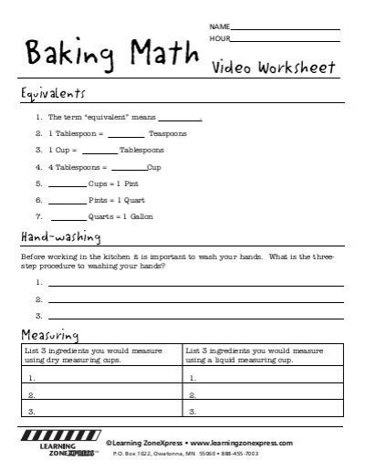 Kitchen Math Measuring Worksheet by Learn Cooking Cups Math Worksheets Learn Best Free