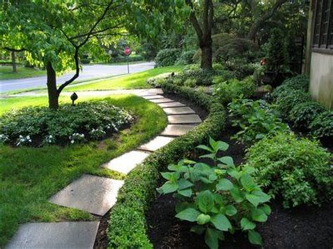 curved garden path and boxwood outdoors pinterest