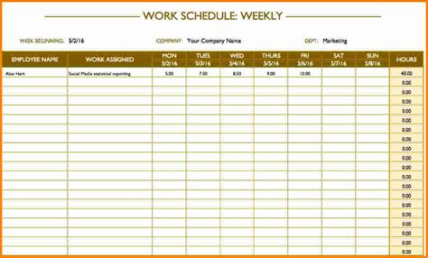 weekly work schedule template free 9 weekly work schedule template cashier resume