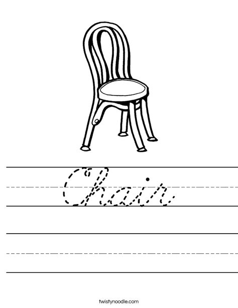 a chair for my worksheets chair worksheet cursive twisty noodle