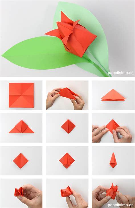 De Origami - como hacer tulipan de papel origami tulip flowers