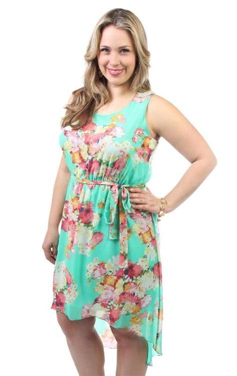 Tie Waist Floral Chiffon Dress plus size floral print chiffon high low dress with tie
