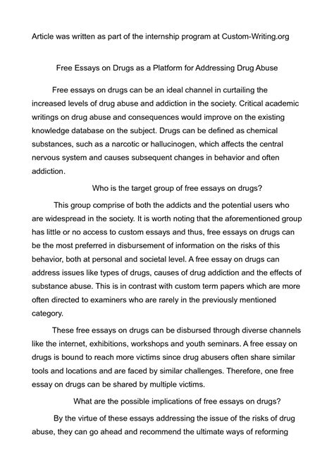 can you say i in a research paper academic guide to writing basics of an essay about drugs