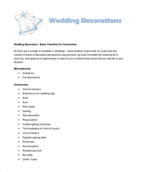 Wedding decorations checklist   massvn.com