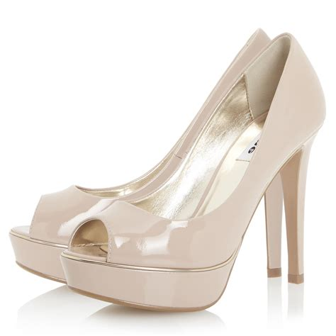 dune daviner peep toe platform court shoes in pink lyst