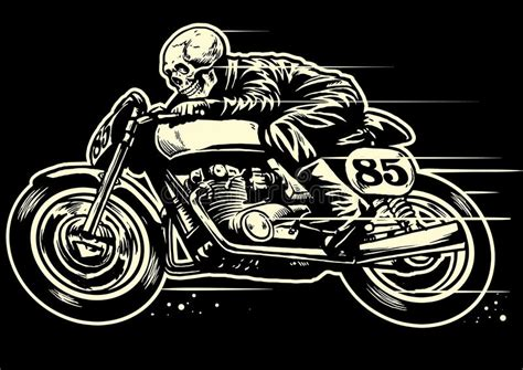 hand drawing  skull riding vintage motorcycle stock