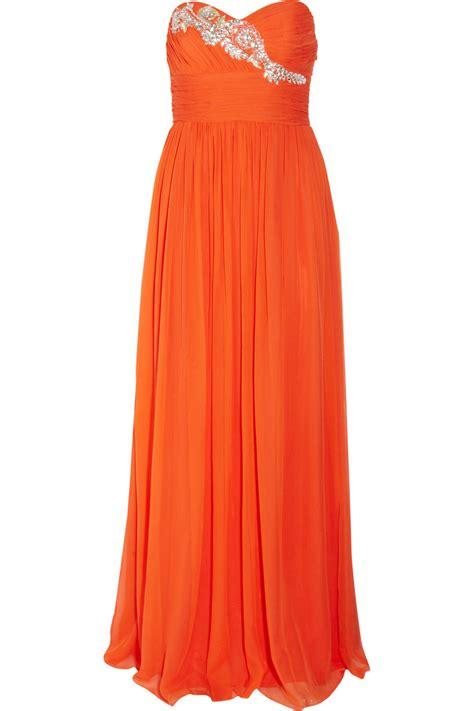 Marchesa Silk Chiffon Gown by Notte By Marchesa Embellished Silk Chiffon Gown In Orange