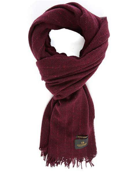 scotch soda burgundy relief fringing woollen scarf in