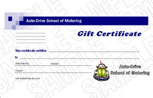 Driving Certificate Template Driving Lesson Gift Vouchers