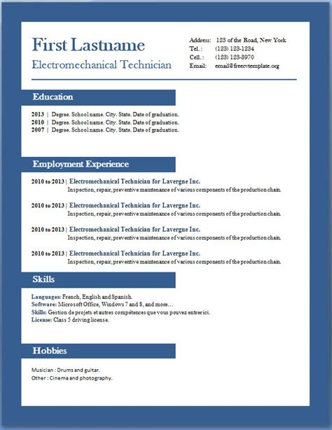 Cv Template Free For Word Cv Format In Word Cv Exle